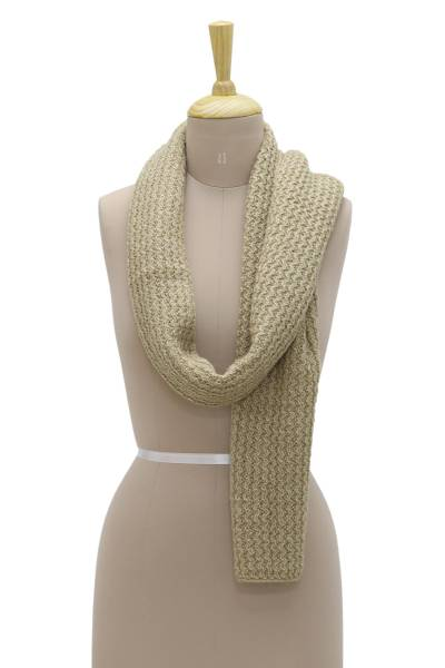 Wool blend scarf, 'Himalayan Waves' - Hand Knit Himalayan Ecru Wool Blend Wrap Scarf
