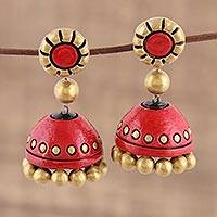Ceramic dangle earrings, 'Golden Passion' - Red and Gold Ceramic Dangle Earrings Crafted in India