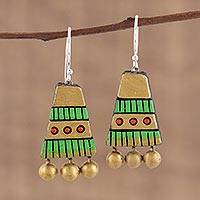 Ceramic dangle earrings, 'Tribal Pyramids' - Gold-Tone and Green Ceramic Dangle Earrings from India