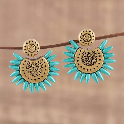 Ceramic dangle earrings, 'Green Coronas' - Corona Motif Ceramic Dangle Earrings Crafted in India
