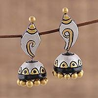 Ceramic dangle earrings, 'Blissful Conch' - Conch-Shaped Ceramic Dangle Earrings Crafted in India