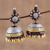 Ceramic dangle earrings, 'Gleaming Sonata' - Ceramic Dangle Earrings in Gold and Silver from India