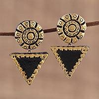 Ceramic dangle earrings, 'Mystic Beauty' - Gold-Tone and Black Ceramic Dangle Earrings from India