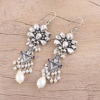Cultured freshwater pearl chandelier earrings, 'Exquisite Jaipur' - Cultured Pearl and Sterling Silver Chandelier Earrings
