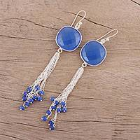 Chalcedony waterfall dangle earrings, 'Shimmering Sea' - Blue Chalcedony and Sterling Silver Waterfall Earrings