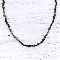 Tourmaline beaded necklace, 'Fragmented Beauty' - Tourmaline Beaded Necklace Handmade in India