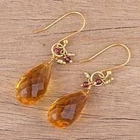 Gold plated multi-gemstone dangle earrings, 'Sunset Raindrops' - Handmade 22k Gold Plated Sterling Silver Gemstone Earrings