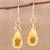 Gold plated multi-gemstone dangle earrings, 'Sunset Raindrops' - Handmade 22k Gold Plated Sterling Silver Gemstone Earrings (image 2b) thumbail