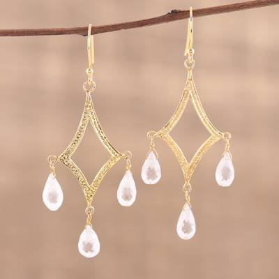 Gold plated quartz chandelier earrings, 'Cascading Drops' - Crystal Quartz 22k Gold Plated Sterling Silver Earrings