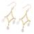 Gold plated quartz chandelier earrings, 'Cascading Drops' - Crystal Quartz 22k Gold Plated Sterling Silver Earrings (image 2c) thumbail
