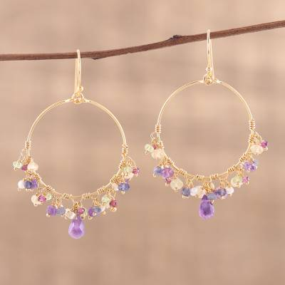 Gold plated multi-gemstone chandelier earrings, 'Vibrant Shimmer' - Handmade 22k Gold Plated Sterling Silver Gemstone Earrings