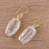 Gold plated quartz dangle earrings, 'Crystalline Delight' - Handmade 22k Gold Plated 925 Silver Crystal Quartz Earrings