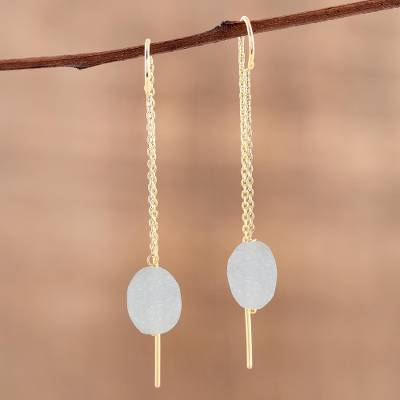Gold plated aquamarine threader earrings, 'Bright Bulbs' - Handmade 22k Gold Plated Sterling Silver Aquamarine Earrings