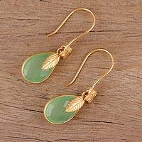Gold plated chalcedony dangle earrings, 'Garden Glory' - Handmade 22k Gold Plated Chalcedony Dangle Earrings