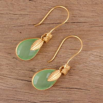 Gold plated chalcedony dangle earrings, Garden Glory