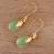 Gold plated chalcedony dangle earrings, 'Garden Glory' - Handmade 22k Gold Plated Chalcedony Dangle Earrings thumbail