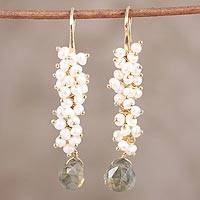Gold plated labradorite and cultured pearl dangle earrings,