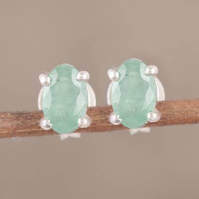 Emerald stud earrings, 'Ravishing Green' - Faceted Green Oval Emerald Sterling Silver Stud Earrings
