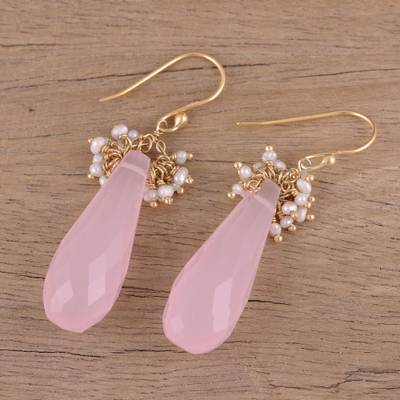 Gold plated rose quartz and cultured pearl dangle earrings, 'Devoted Rose' - Handmade 22k Gold Plated Rose Quartz Cultured Pearl Earrings