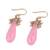 Gold plated rose quartz and cultured pearl dangle earrings, 'Devoted Rose' - Handmade 22k Gold Plated Rose Quartz Cultured Pearl Earrings (image 2c) thumbail