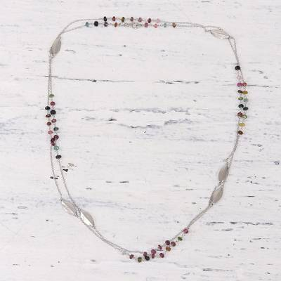 Tourmaline station necklace, 'Shining Delight' - Tourmaline and Sterling Silver Station Necklace from India