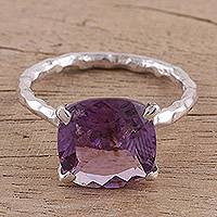 Rhodium plated amethyst single stone ring, 'Purple Glamor' - Rhodium Plated Amethyst Single Stone Ring from India