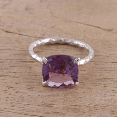 Rhodium plated amethyst single-stone ring, Fascinating Glamour