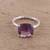 Rhodium plated amethyst single-stone ring, 'Fascinating Glamour' - Rhodium Plated Amethyst Single-Stone Ring from India thumbail