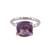 Rhodium plated amethyst single-stone ring, 'Fascinating Glamour' - Rhodium Plated Amethyst Single-Stone Ring from India (image 2a) thumbail