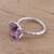 Rhodium plated amethyst single-stone ring, 'Fascinating Glamour' - Rhodium Plated Amethyst Single-Stone Ring from India (image 2b) thumbail