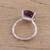 Rhodium plated amethyst single-stone ring, 'Fascinating Glamour' - Rhodium Plated Amethyst Single-Stone Ring from India (image 2c) thumbail