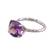 Rhodium plated amethyst single-stone ring, 'Fascinating Glamour' - Rhodium Plated Amethyst Single-Stone Ring from India (image 2d) thumbail