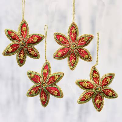 Beaded ornaments, 'Red Stars' (set of 4) - Set of Four Red Gold Beaded Holiday Stars Ornaments