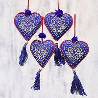 Beaded ornaments, 'Blue Hearts' (set of 4) - Set of Four Blue Tassel Beaded Holiday Heart Ornaments