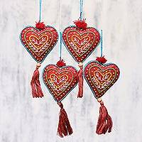 Beaded ornaments, 'Red Hearts' (set of 4) - Set of Four Red Tassel Beaded Holiday Heart Ornaments