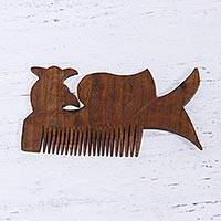 Wood decorative comb, 'Pleasant Peacock' - Handmade Acacia Wood Decorative Peacock Comb Made in India