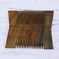 Wood decorative comb, 'Tribal Elegance' - Handmade Acacia Wood Decorative Tribal Comb Made in India