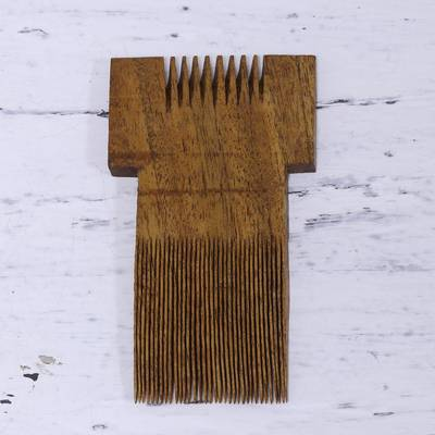 Wood decorative comb, 'Traditional Tribe' - Handmade Acacia Wood Decorative Tribal Comb Made in India