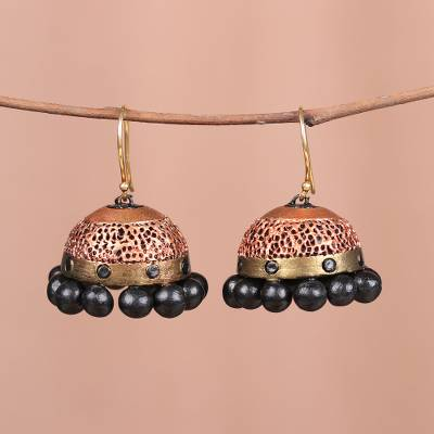 Ceramic dangle earrings, 'Coral Surprise' - Hand-Painted Coral and Gold Jhumka Ceramic Earrings