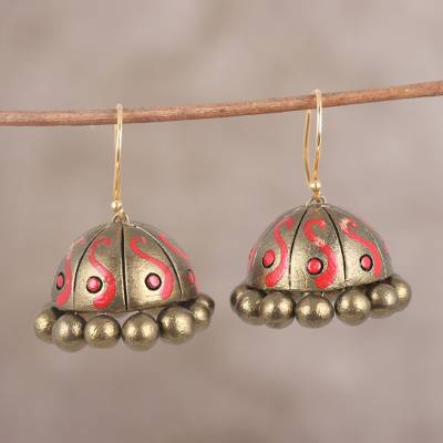 Ceramic dangle earrings, 'Red Flame' - Hand-Painted Golden Flame Ceramic Terracotta Jhumka Earrings