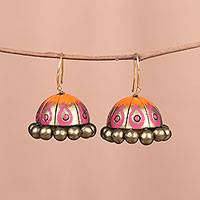 Ceramic dangle earrings, 'Flaming Pyre' - Hand-Painted Golden Terracotta Ceramic Pyre Jhumka Earrings