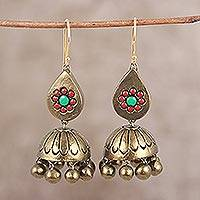 Ceramic dangle earrings, 'Majestic Floral' - Hand-Painted Gold Floral Ceramic Terracotta Jhumka Earrings