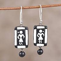 Ceramic dangle earrings, 'Tribal Beat' - Black and White Ceramic Dancing Tribe Dangle Earrings