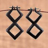 Ebony wood drop earrings, 'Seeing Double' - Double Diamond-Shaped Hand Carved Ebony Wood Drop Earrings