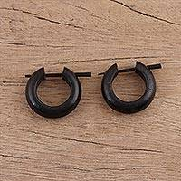 Ebony wood hoop earrings, 'Ebony Loop' - Hand Carved Ebony Wood Hoop Earrings
