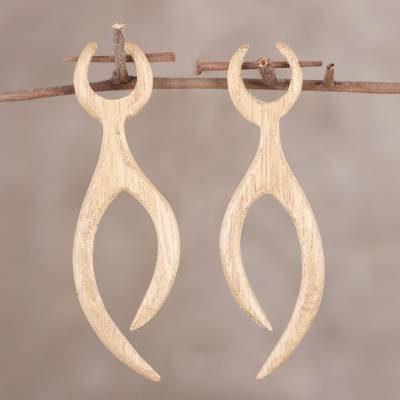 Wood drop earrings, 'Wishing Branches' - Hand-Carved Wishing Branches Ivory Wood Drop Earrings