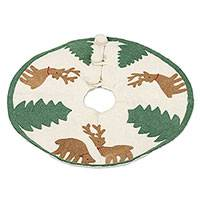 Wool tree skirt, 'Reindeer Charm' - Wool Tree Skirt with Reindeer and Trees from India