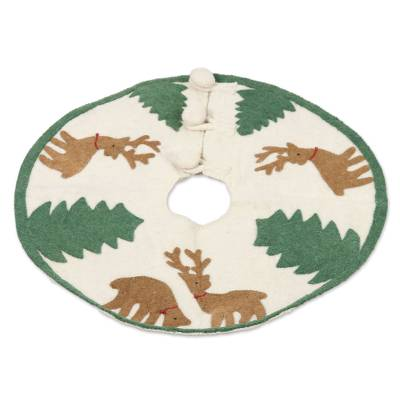 Wool Felt Tree Skirt with Reindeer and Trees from India