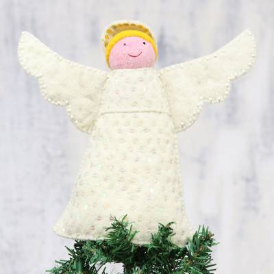 Wool felt tree topper, 'Messenger of Light' - Handcrafted Wool Felt Angel Tree Topper from India