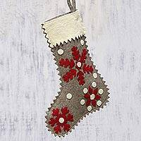 Wool felt stocking, 'Christmas Snowfall' - Handcrafted Snow Motif Wool Stocking from India